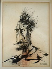 LEONARDO NIERMAN MCM Ink Drawing PORTRAIT OF A MAN 1960s Framed MEXICAN ARTIST