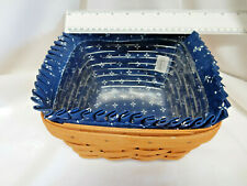 """Longaberger Basket W/ Liner & Protector, 8.5"""" x 8.5"""" Square, 5"""" Tall, 1998"""