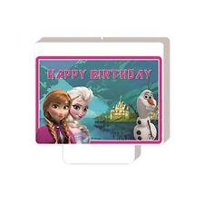 CANDELINA FROZEN ANNA E ELSA 1 PZ  FESTA PARTY COMPLEANNO Happy Birthday