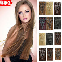 "Professional Store Full Head Clip In Remy Human Hair Extensions 15""20""22""24"" C84"