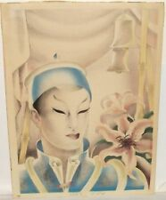 HERBERT FOUTS ASIAN MAN ART DECO FLORAL COLORED LITHOGRAPH