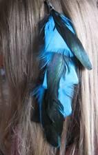 Extensions cheveux en plumes-Noir & turquoise COQ & plumes de dinde