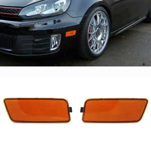 Pair Amber Bumper Side Marker Turn Lights Cover Fits For Golf MK6 GTI 2010-2014