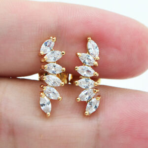 18K Yellow Gold Filled Women Leaf Crystal Topaz Zircon Stud Earrings Wedding