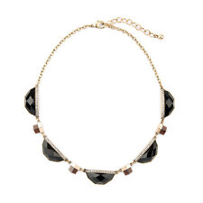 Ashy Hues Geometric Atlas Collar Necklace Smoky Quartz + Faceted Jet Jewelry