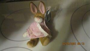 "Bearington Bears Bunny Rabbit ""Mitsie"" Pink Sweater Spring Easter MINI 5"""