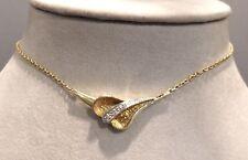 Halskette Collier mit Brillanten 0,03 ct. 14 K/585er Gelbgold -tolles Design-