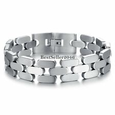 """Men's Wide Silver Tone Stainless Steel Link Chain Cuff Wristband Bracelet 8.2"""""""