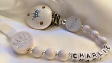 ♕ PERSONALISED Your Name Choice ♕ PRINCE & CROWN ♕ Dummy Clip ♕ WHITE ♕