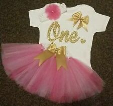 Baby girl first 1st birthday tutu outfit cake smash handmade one pink gold