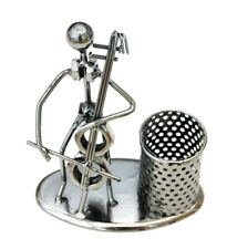 CELLO PLAYER PEN PENCIL HOLDER DESKTOP TIDY RECYCLED METAL NUTS BOLTS  GIFT