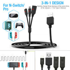 3 in1 Charger Cable Connector Cord for Nintendo Switch Pro Joycon 1.8m/70in Usbc
