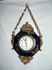Magnifique horloge pendule murale Boulangère Faïence et bronze,forme octogonale