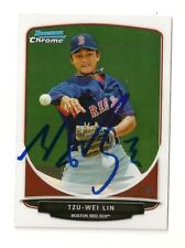 2013 BOWMAN CHROME TZU-WEI LIN ROOKIE AUTOGRAPH CARD #BCP133 SIGNED IN PERSON