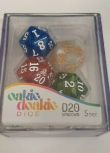 Oakie Doakie DICE - D20, Spindown - Marble Selection (5xD20 Dice)