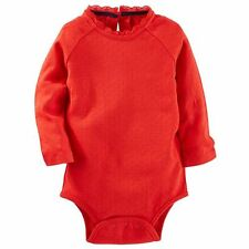 OshKosh Red One-Piece Bodysuit with Lace Trim Infant Baby Girl 18 Months NEW