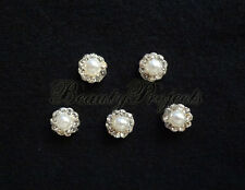 (5pcs) nail art pearl white 3D flower rhinestone charms acrylic nails gel A213