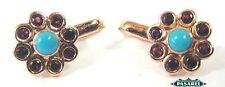 9k Rose Gold Garnet Turquoise Designer Earrings