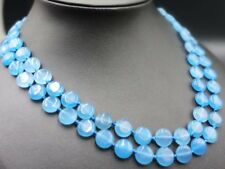 AAA+ 2 Row Natural Blue Aquamarine Coin Beads Gemstone Necklace 17-18''