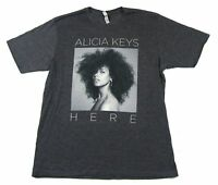 Alicia Keys B&W Pic Here Dark Heather Grey T Shirt New Official Merch Soft