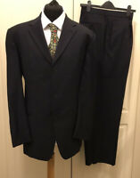 "HUGO BOSS Mens Navy Pinstripe Pure New Wool Suit Chest 44"" W40"" L32"""