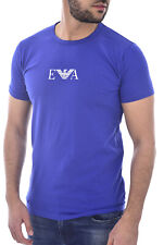 EMPORIO ARMANI Blue Signature Chest Logo T-Shirt Top Tee Size L BNWOT