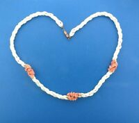 Vintage Mother of Pearl Shell Pink Coral Bead Triple Strand Necklace 22""