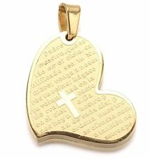 Gold Stainless Steel Heart Prayer Padre Nuestro Cross Pendant s17
