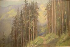 Original Oil painting of a path through wooded Alpine Scene by Dorothy M Bristow
