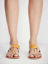 Free People Yellow Leather Bora Bora Slip On Sandals Size 38 8 NWOB $48 Toe Loop