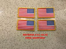 4 PACK US Military REVERSE American Flag Patch heat seal embroidered iron-on