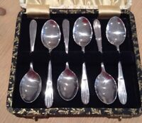 SIX VINTAGE EPNS A1 COFFEE FRUIT SPOONS ART DECO BOXED SILVER PLATED TEA DRINK