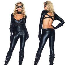 Leg Avenue Kitten Vixen Bodysuit Costume Small Black Faux Leather Jumpsuit
