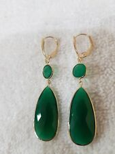 14 K White Gold Dangle Earrings with Green Onyx  stones