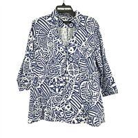 Lafayette 148 New York Women's Size 14W Button-Down Poplin Blouse 3/4 Sleeve