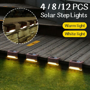 4X 8X 12X Solar LED Deck Lights Outdoor Path Garden Stairs Step Fence Lamp IP55