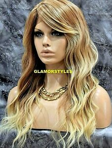 Human Hair Blend Lace Front Full Wig Long Wavy Layered Blonde Mix #T27.613 NWT