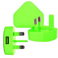 Green 3 PIN USB UK MAINS CHARGER ADAPTER PLUG For SAMSUNG IPHONE iPAD AIR IPOD