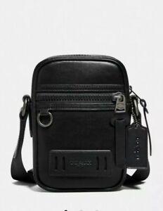 Coach Authentic Men's $250 Terrain Crossbody Black Calf Leather Sling Bag F72963