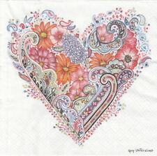 4x Paper Napkins for Party and Decoupage Craft Spring Heart