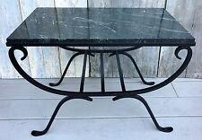 Vintage Italian Dark Green Marble Top Black Wrought Iron Base Coffee Side Table