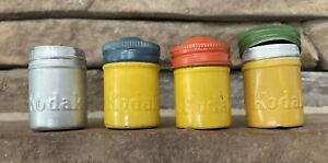 4 Vintage Kodak Metal Tin Film Canister 3 Yellow 1 Aluminum W/3 Lids 1 W/ Film