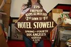 """Vintage 1930's Hotel Stowell Garage Cafe Los Angeles Gas Oil 24"""" Metal Sign"""