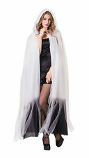 HOODED CAPE WHITE GHOSTLY CLOAK HALLOWEEN FANCY DRESS ADULT ONE SIZE