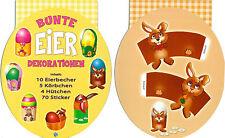 Eierdeko Ostern Ostereierdeko Eierkörbchen Eierbecher Sticker Deko Hase Küken