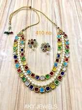 Indian kundan necklace Beautiful ethnic Bollywood Multicolour Jewlery sets