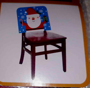 Lot 2: Christmas Santa Claus Chair Cover Party Decor Dining Kitchen NEW NIP