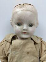 Vintage Composition Doll Sleepy Eyes  Unusual Doll Halloween  Creepy 1920 - 1930