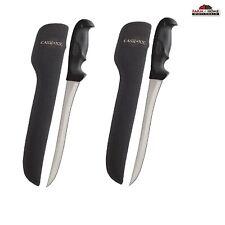 "(2) 9"" Fillet Fixed Blade Hunting Knife & Sheath Black 00363 ~ New"