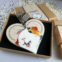 Guinea Pig Heart Hanger Sign - Cream, tartan ribbon